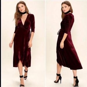 Lulu's Enchant Me Burgundy Wrap Midi Dress